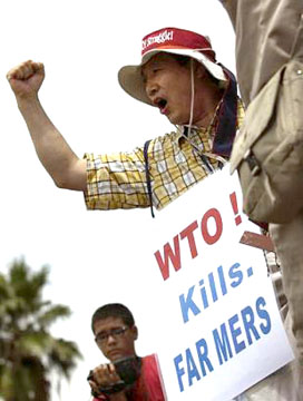 Lee Kyung Hae, the Korean farmer who committed suicide as an act of protest of the 2003 WTO summit in Cancun, Mexico