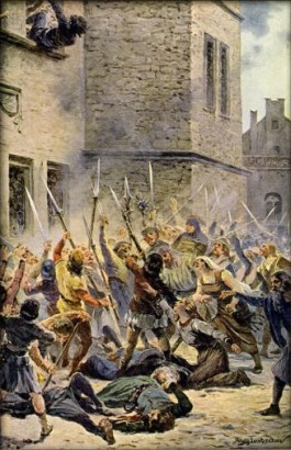 "The ""First Defenestration of Prague."" Hussite rebels throw all 13 members of City Council out the window to their deaths."
