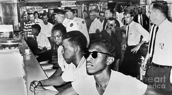 As a practice of democratic empowerment, students initiated the lunch counter sit-ins to challenge legal racial segregation in the South. (1961)